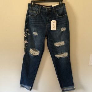Cello Jeans Girlfriend Embroidered Distressed